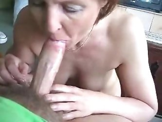 Granny sucks the cock hard and he cum in her mouth