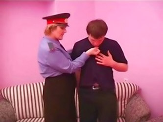 Chubby Policewoman Forcing Young...