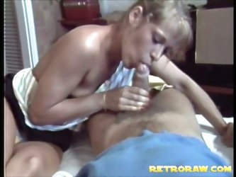 Retro blowjob foursome