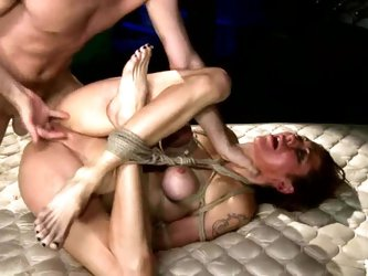 Tied up girl gets humiliated and face fucked in...