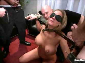 Busty blonde milf satisfies three men at a time...