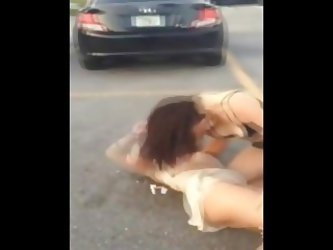 Two Women Fighting In The Street With No Panties