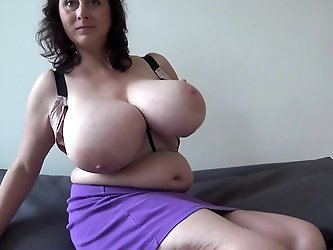 Euro MILF with macromastia hanging breasts